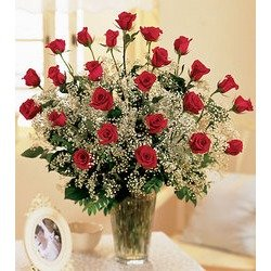 Two Dozen Roses Arranged with Babys Breath