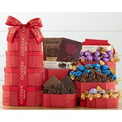 Godiva Red And Gold Valentine's Chocolate Tower