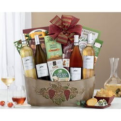 California White Wine And Rose Gift Basket