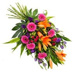 Funeral bouquet in vibrant colours