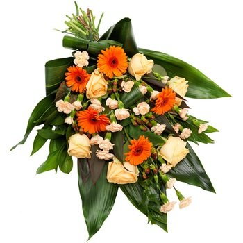 Warm toned funeral bouquet