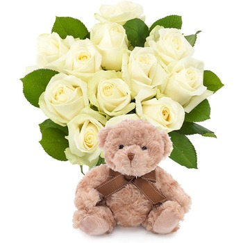 White roses with teddy (Vase not included)