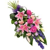 Funeral bouquet in pink and purple