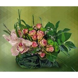Arrangement in a Basket with Roses & Orchids