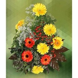 Arrangement of Yellow and Orange Gerberas