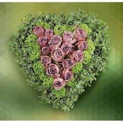 Heart-Shaped of Pink Roses and Viburno