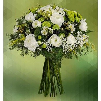 Bouquet White Ranunculus and Green Mums