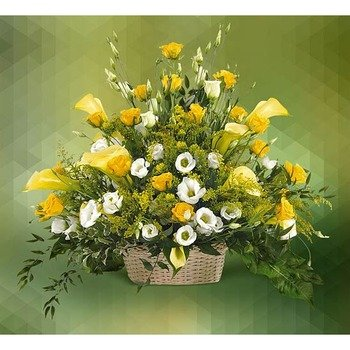 Basket of Calla Lilies and Roses