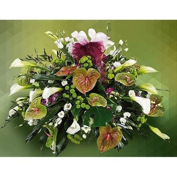 Refinded Funeral Arrangement with Anthuriums
