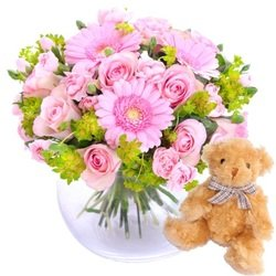 To mother with love, pink - bouquet + Teddy bear