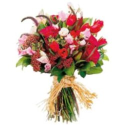 Mixed Cut Flowers Vibrant Red