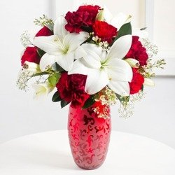 Romantic Bouquet in Red and White Colours (Vase Not Included)