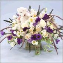 New Baby Arrangement with Teddy Bear