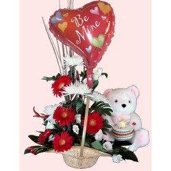 Basket Arr With Balloon And Teady Bear