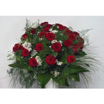 Bouquet of 35 Long Stemmed Red Roses (Vase Not Included)