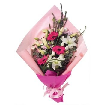 Bouquet of Cut Flowers Pink & White (Vase Not Included)