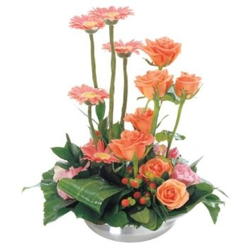Arrangement of Cut Flowers in Ceramic Container