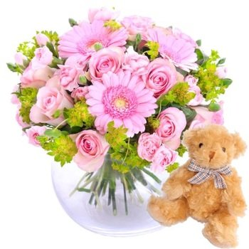 To mother with love, pink - bouquet + Teddy bear (Vase Not Included)