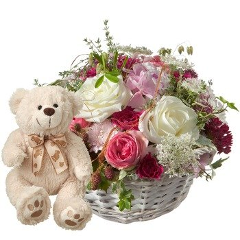 A basket full of poetry with roses and teddy bear (white)