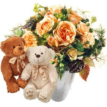 Delicate rose bouquet with two teddy bears (white & brown) (Vase Not Included)