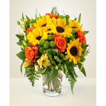Sunflowers and White Roses (Vase not included)