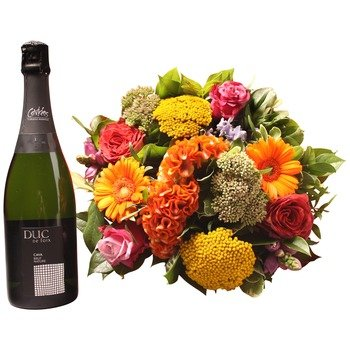 Colorful bouquet with Cava (Vase not included)