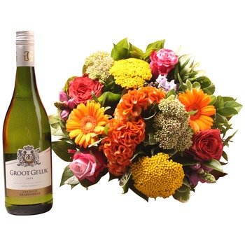 Colorful bouquet with groot geluk white (Vase not included)