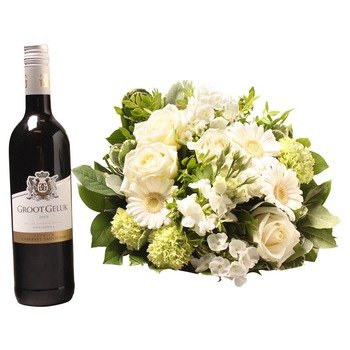 White bouquet with Groot Geluk Red (Vase not included)