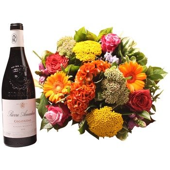 Colorful bouquet with Gigondas (Vase not included)