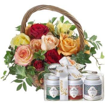 Basket Full of Roses with Gottlieber tea gift set