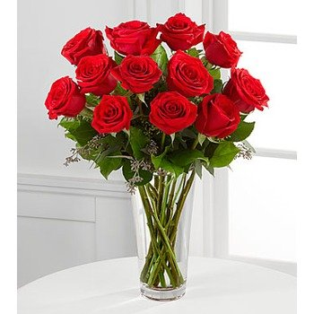 Long Stem Red Rose Bouquet - Vase included