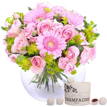 Hug for happiness, pink + Champagne truffles (Vase not included)