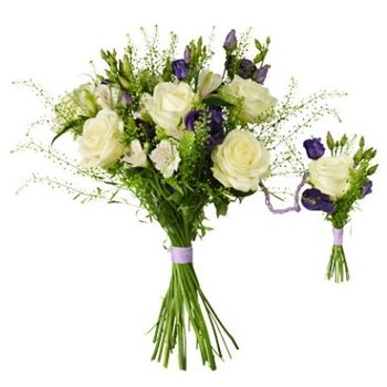 Baby birth bouquet White & Purple (Vase Not Included)