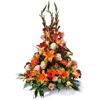 Vertical centrepiece in orange shades
