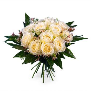 12 Short-stemmed White Roses (Vase not included)