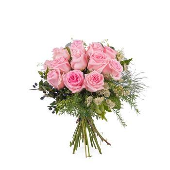 12 Short-stemmed Pink Roses (Vase not included)