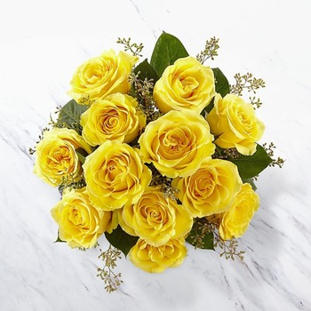 12 Yellow Roses Bunch (Vase not included)