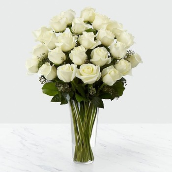 24 White Roses in Vase