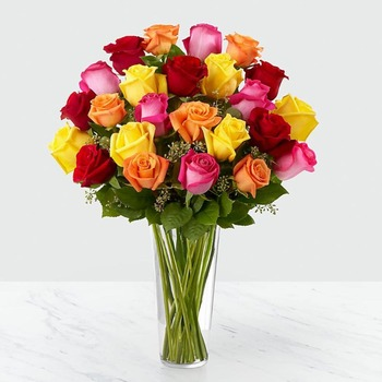 24 Mixed Roses in Vase