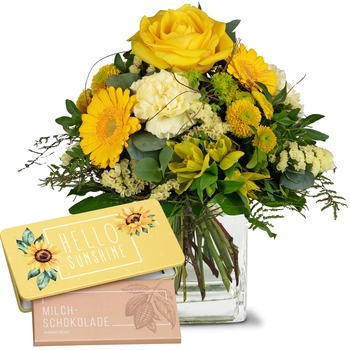 """Sunny Vibes with bar of chocolate """"Hello Sunshine"""" (Vase not included)"""