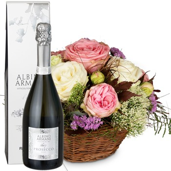 A Basket full of Poetry with Roses with Prosecco Albino Armani DOC (75cl)