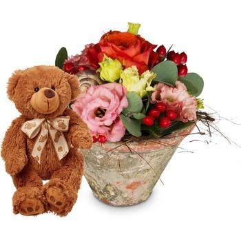 Flower Kiss with teddy bear (brown)