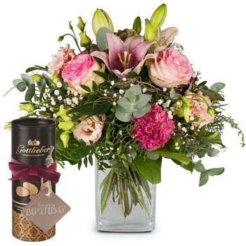 "Lily Magic with Gottlieber cocoa almonds and hanging gift tag ""Happy Birthday"""