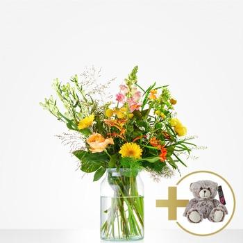 Combi Bouquet: Hugs; includes teddy bear