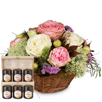 A Basket full of Poetry with Roses with honey gift set