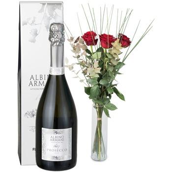3 Red Roses with Prosecco Albino Armani DOC (75cl)