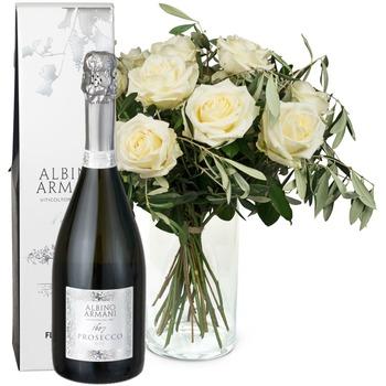 12 White Roses with Prosecco Albino Armani DOC (75cl)