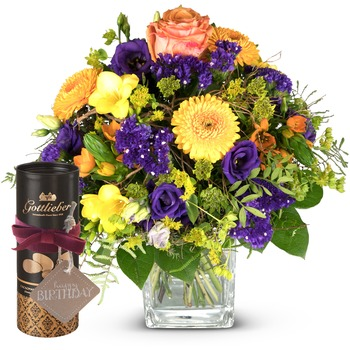"""Magic of Spring with Gottlieber cocoa almonds and hanging gift tag """"Happy Birthday"""" (Vase not includ"""