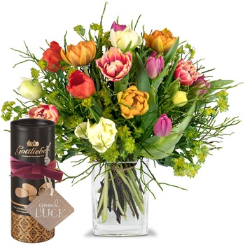 "Colorful Bouquet of Tulips with Gottlieber cocoa almonds and hanging gift tag ""Good Luck"" (Vase not"