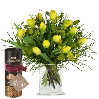 """Sunny spring composition with Gottlieber cocoa almonds and hanging gift tag """"Get Well Soon"""" (Vase no"""